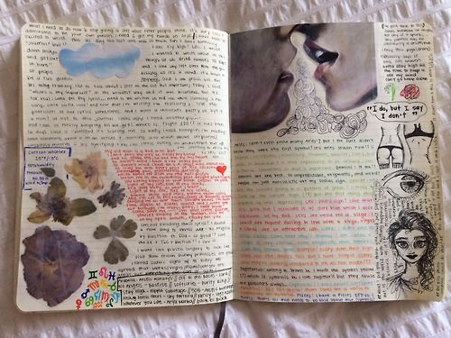 flowerette:  flowerette:  journal part 2  i can't believe this has so many notes  #journal #artjournal