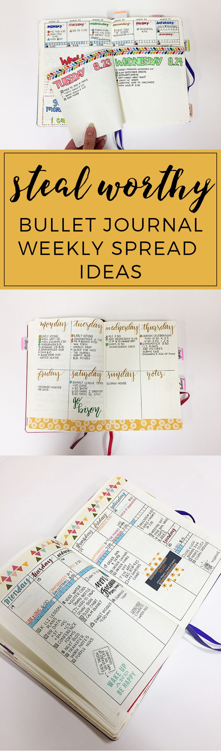 Steal-worthy Bullet Journal Weekly Spread Ideas http://productiveandpretty.com/bullet-journal-weekly-spread-ideas/?utm_campaign=coschedule&utm_source=pinterest&utm_medium=Jennifer%20Grayeb&utm_content=Steal-worthy%20Bullet%20Journal%20Weekly%20Spread%20Ideas