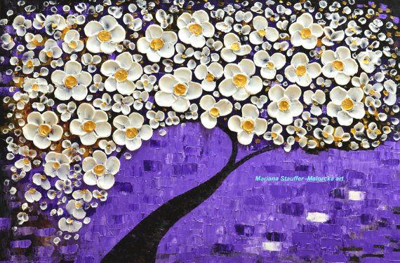 tree painting original landscape impasto textured by malorcka, $269.00