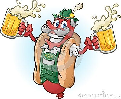 Personaje de dibujos animados. Perro caliente, con dos jarras de cerveza en sus manos.