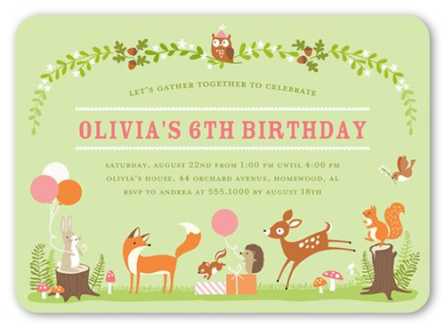 Best 25 kids birthday invitation card ideas on pinterest 1st birthday invitations gathering forest rounded corners green stopboris Gallery