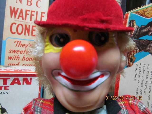 icollect247.com Online Vintage Antiques and Collectables - DOZO THE STEAMING CLOWN BATTERY OPERATED IN BOX TN JAPAN 6