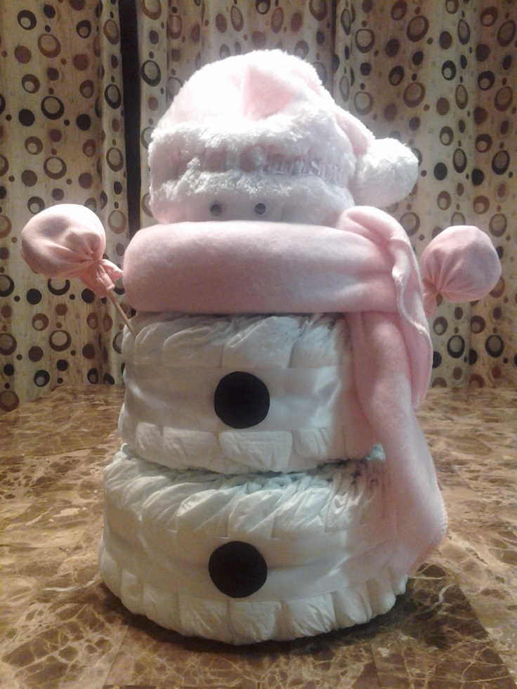 Baby Shower + diaper cakes Merry Christmas Pink Snowgirl Diaper Cake by CornerStorkBakery.com Baby Shower