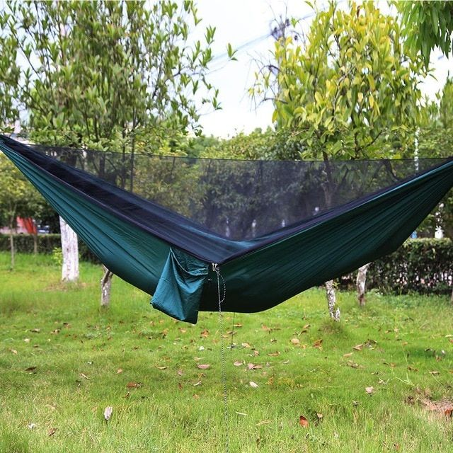 The Newest Automatic Opening Mosquito Net Hammock Outdoor Mosquito Proof Hammock 290 140 With Wind Rope Nails Max 300kg Re Hammock Hammock Camping Hanging Beds