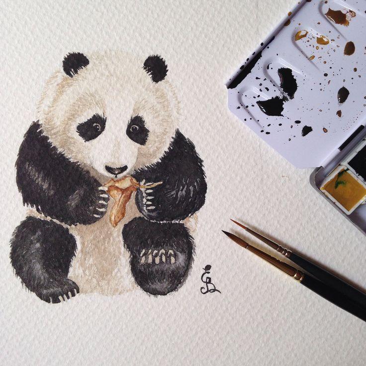 Aquarelle painting panda by Eli Bichita