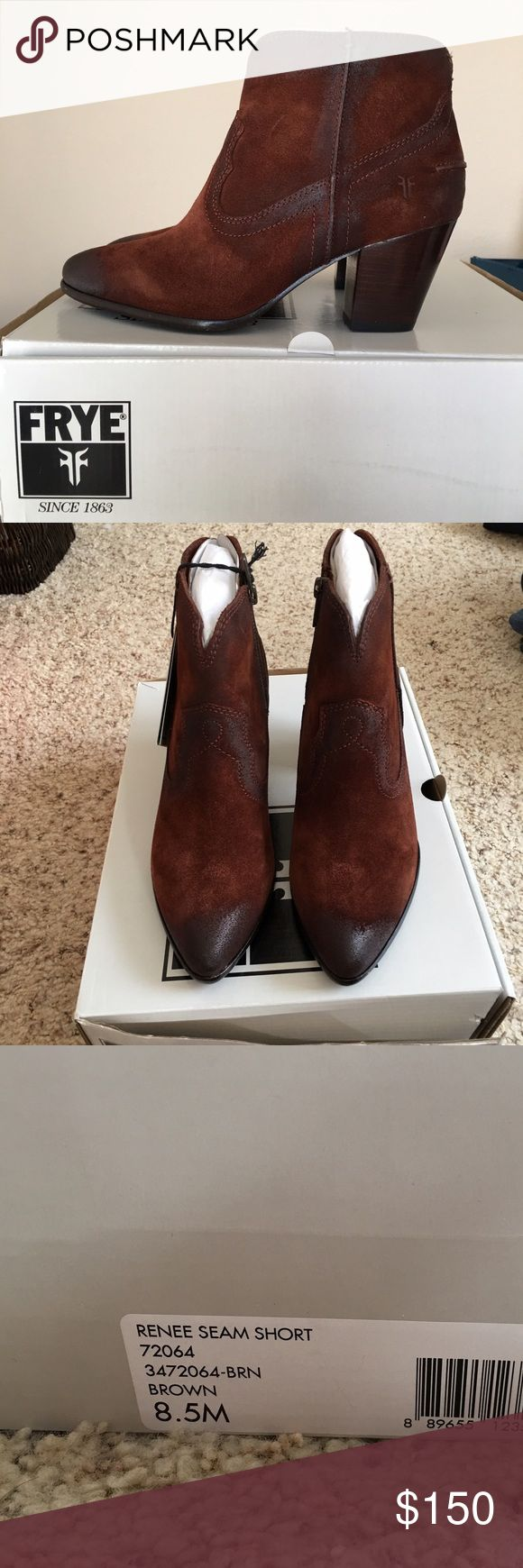 Frye Renee Seam short brown boot SZ 8.5 NWT  box New never worn - needed a bigger size and forgot to return by req date / women's Frye Renee seam short brown suede bootie with box / tags 8.5 Frye Shoes Ankle Boots & Booties