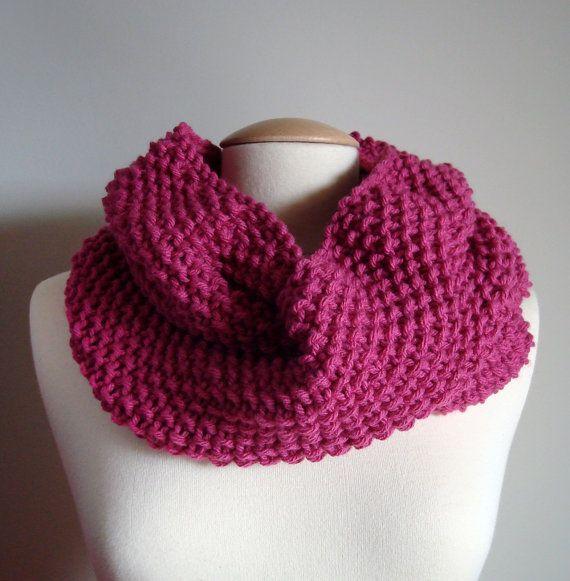 Hand Knit raspberry pink rose chunky, Cowl, Neck Warmer, Women's Infinity Scarf, premium acrylic