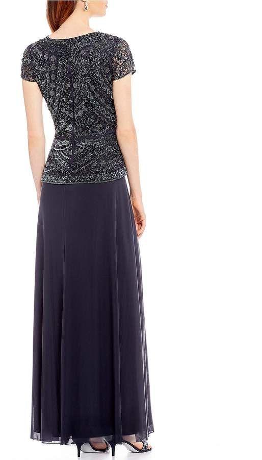 06e1b2042bc Pisarro Nights Petite Size Cap Sleeve Beaded Bodice Mock 2-Piece Gown  Size  Cap Petite