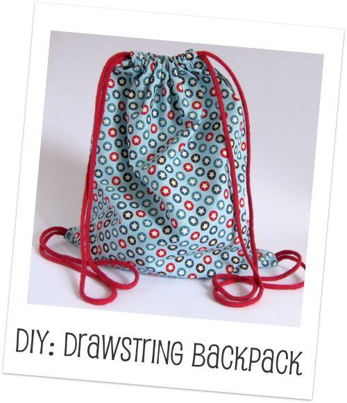 Make a simple Drawstring Backpack at Handmade Kids