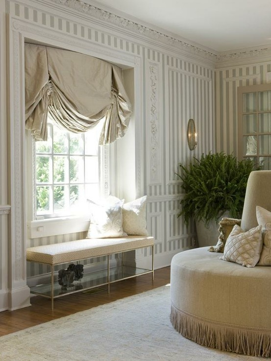 Window treatments chic maison pinterest for Window seat curtains