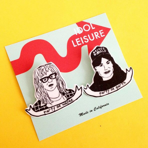 Wayne's World Pin Set - Party On - Wayne Campbell - Garth Algar - Christmas Gift by IdolLeisure on Etsy https://www.etsy.com/ca/listing/251141311/waynes-world-pin-set-party-on-wayne