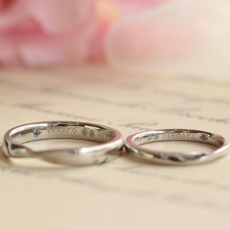 趣味の自転車がモチーフの刻印で二人らしさたっぷりに仕上げた結婚指輪 [marriage,wedding,ring,bridal,Pt900,プラチナ,マリッジリング,結婚指輪,オーダーメイド,ウエディング,ith,イズマリッジ]
