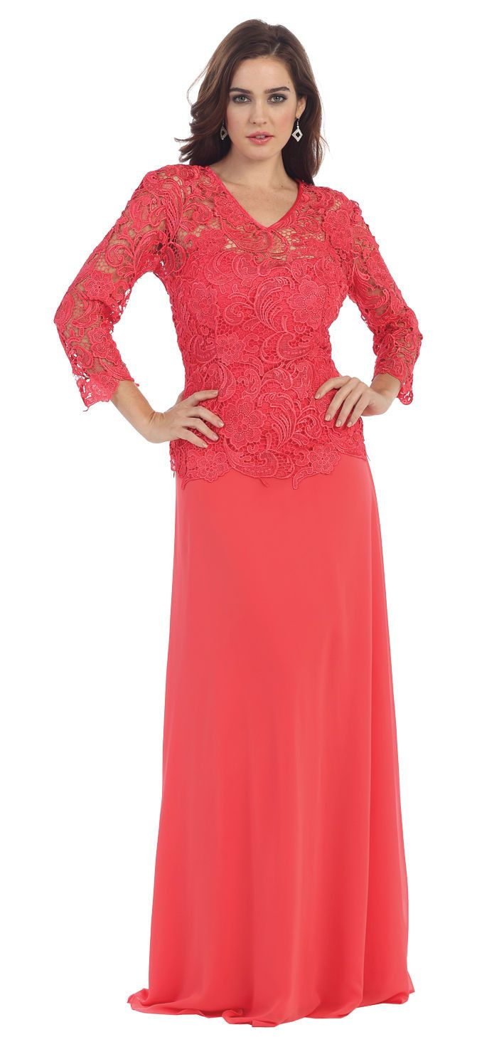 This classic mother of the bride groom floor length dress features v neckline, quarter sleeve and lace material. This dress is perfect for wedding, evening party and other special occasion. Neckline :