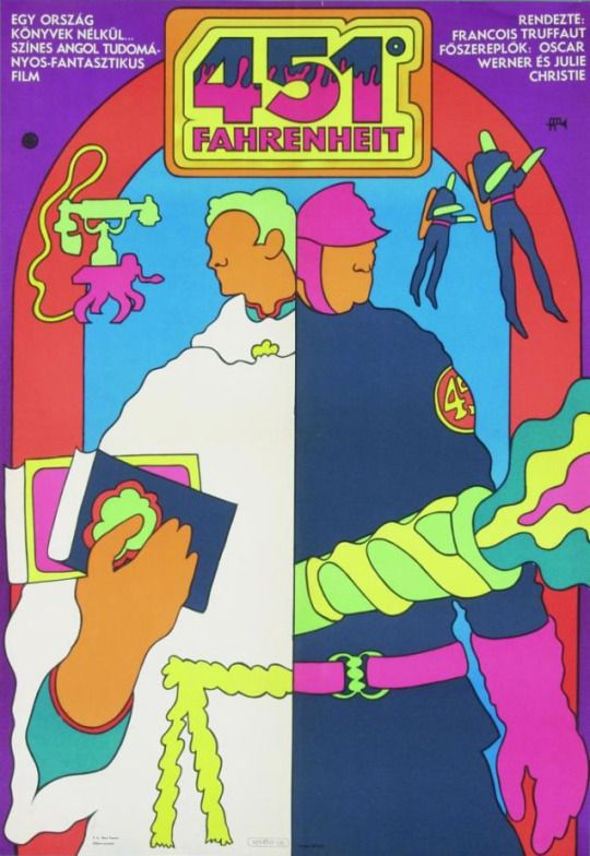 Hungarian poster for Fahrenheit 451, 1969, designed by György Kemény.