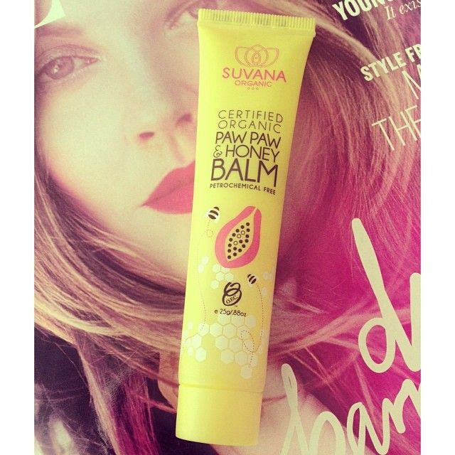 I swear this Suvana Paw Paw Ointment is magical! It's made from Paw Paw, honey, cocoa butter & Vitamin E and contains no nasties + is certified organic and vegan-friendly. My lips feel so silky soft after only one application!! It banishes dry, chapped kissers almost immediately and smells good enough to eat. Seriously, can I eat this stuff?!!