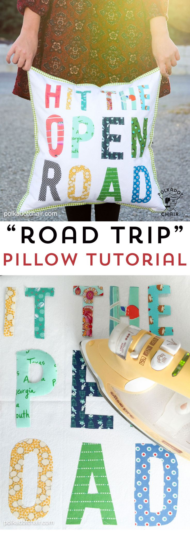 "Free tutorial for a Hit the Open Road pillow, a fun DIY project for an RV or camper. Plus why our family loves to ""Go RVing"" #gorving #ad"