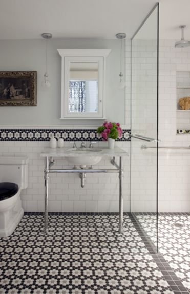 Liz-caan-interiors-interiors-contemporary-industrial-modern-traditional-transitional-bathroom Wonderful 1920-30's look updated, the tile is beautiful on the floor & as a wall boarder.