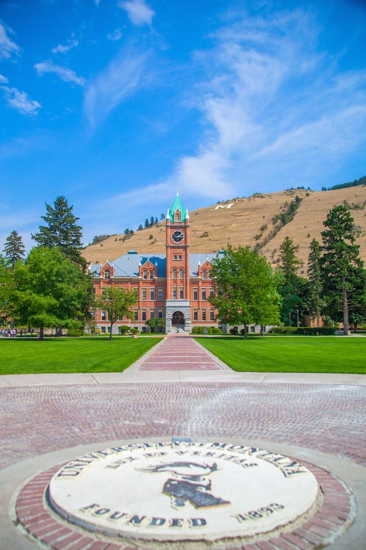 University of Montana from the Oval at the center of campus.  Missoula, Montana