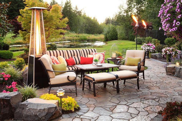 ~ A chic patio heater warms this transitional outdoor living space in style ~ The heater coordinates with the beautiful outdoor furniture, creating a perfect spot for entertaining ~