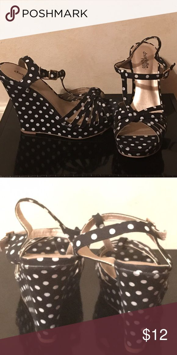Polka dot black and white heels Wedge high heel with buckle ankle strap 5 inch heel Charlotte Russe Shoes Wedges
