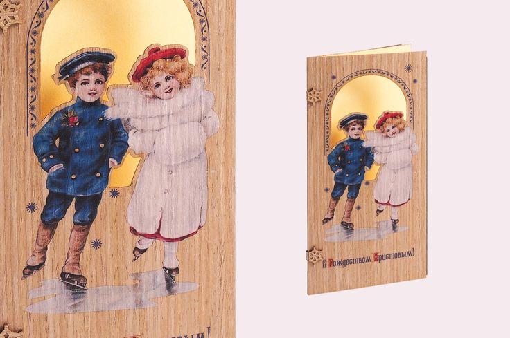 Винтажная новогодняя открытка, деревянная открытка, печать на дереве, новогодняя открытка