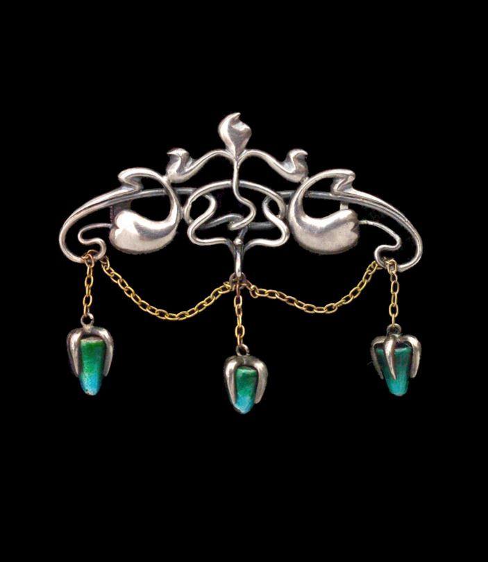 LIBERTY & CO - Art Nouveau Brooch. Silver Gold Enamel. British, c.1900.