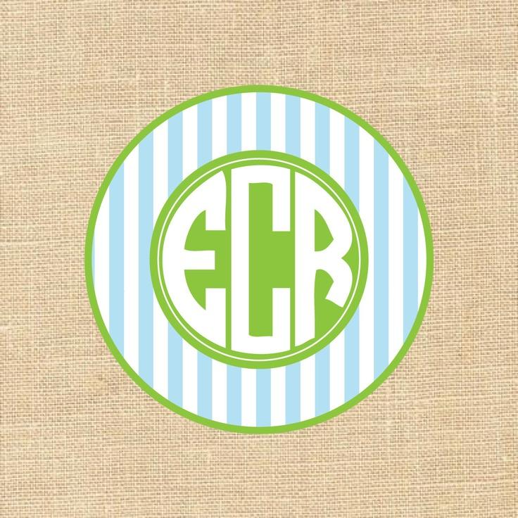 Monogram stickers Circle Triple Preppy Monogram set of 12. $6.00, via Etsy.