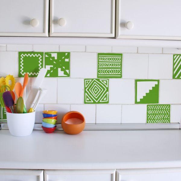 Azulejo tribal vinilo decorativo cocina ba o tile for Azulejos decorativos cocina