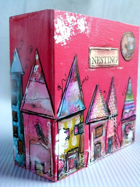 Up cycle boxes from packaging- paint background, collage houses/buildings/landscapes, glue & seal on box.