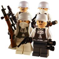 WW2 Lego Winter German Squad 4, including a German Captain, Gunner, Soldier and Sniper figure created using Lego body parts and custom guns and helmets.