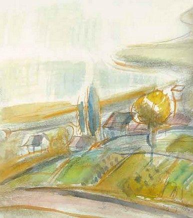 Egry József Badacsony című akvarellje