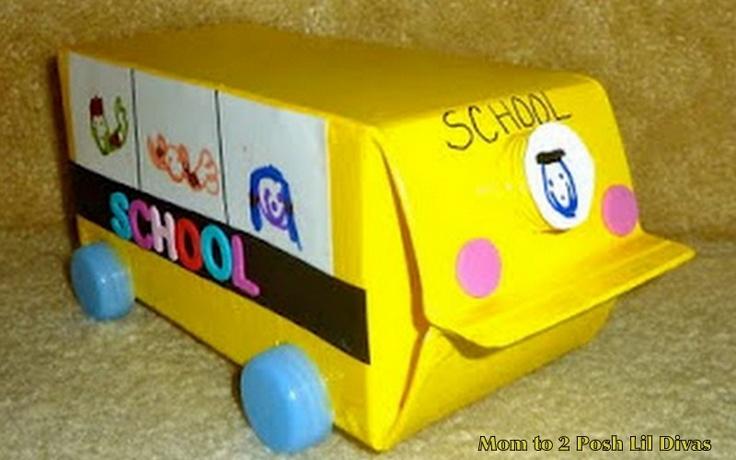 Mom to 2 Posh Lil Divas: Back to School Fun - Milk Carton School Bus Craft