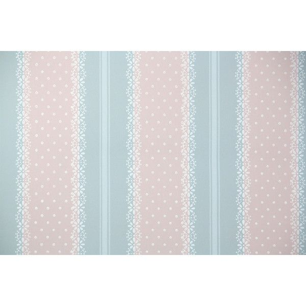 1940s Vintage Wallpaper by the Yard Blue and Pink Lace Stripe with... ❤ liked on Polyvore featuring home, home decor, wallpaper, lace wallpaper, vintage lace wallpaper, pink home decor, blue vintage wallpaper and vintage home decor