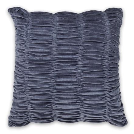 50x50cm Gathered Velvet cushion Sapphire