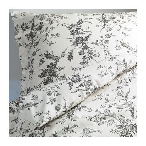 ALVINE KVIST Duvet cover and pillowcase(s), white, gray white/gray Full/Queen (Double/Queen)