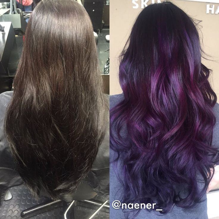 Before and after: box colored BLACK hair to deep purple balayage . Hair by Nancy Vo