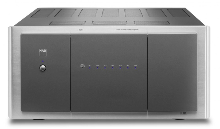 M25 7-Channel Amplifier - 7 x 160-watts of Pure NAD Power. This amplifier pairs with the M15 HD preamplifier to create an impressive home theater solution.