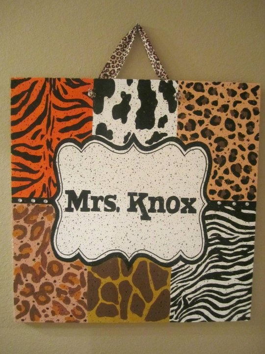 animal print classroom board