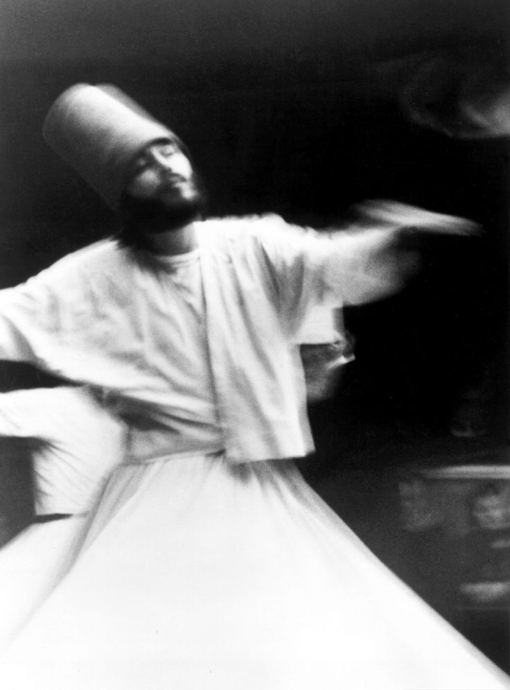 """Whirling dervish"" of the Mevlevi order of Sufis"
