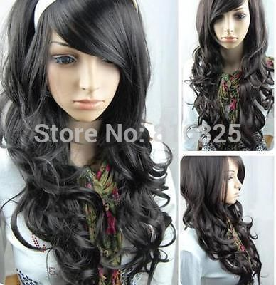 БЕСПЛАТНО P & P> Новые красивые черные волосы локон мода парик длинные мдр