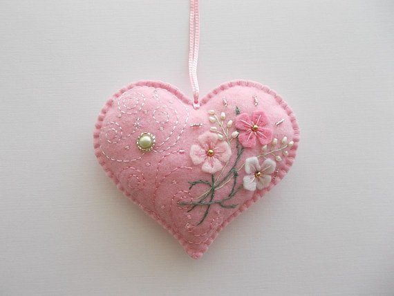 This Heart Ornament Pink Felt Heart Hanging With Hand Embroidered Is Just One Of The Custom Handmade Pieces You Ll Find Felt Heart Heart Ornament Felt Flowers