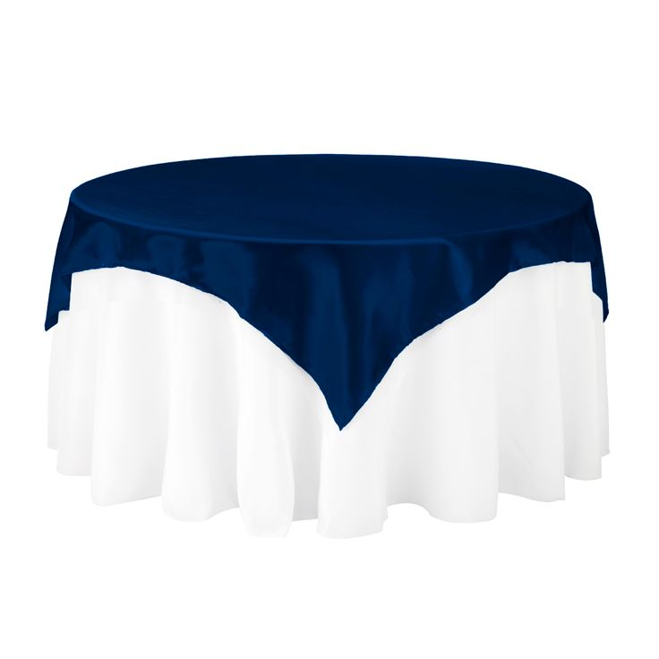 72 in. Square Satin Overlay Navy Blue