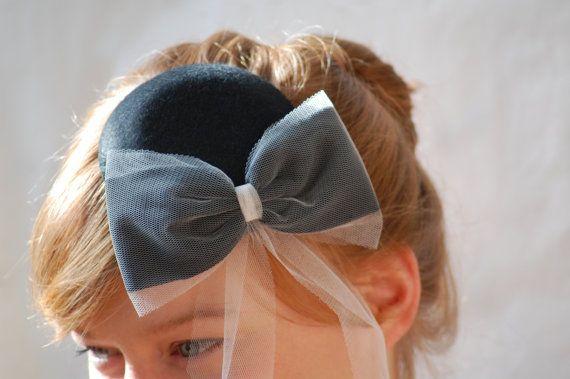 black + blush bow wedding fascinator. HeatherFeatherDesign £45.00