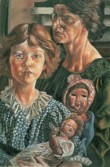 Family Group: Hilda, Unity and Dolls c.1937 by Stanley Spencer (1891-1959)