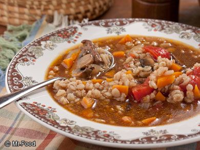 """AMISH BEEF BARLEY SOUP RECIPE: ~ From: """"Mr.Food.Com"""". ~ Recipe Furnished By: """"Mr.Food Test Kitchens"""". ~ Cook Time: 1 hr, 10 min; Ready In: 1 hr, 10 min; Yield: (8 servings). ~  If you've been looking for a beef barley soup recipe that's made with good-for-you, down-home ingredients, then this is the easy soup recipe for you. Plus, you can pack up the leftovers to reheat the next day for lunch!"""