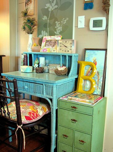 Darling Study-Area/Work space for a girl's room / baby blue small desk with pigeon holes / mint green file cabinet side table / gold numeral