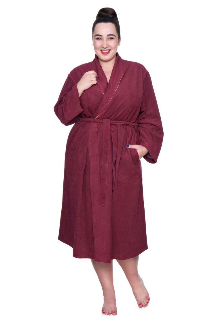 Dzianinowy szlafrok w kolorze wiśniowym - Modne Duże Rozmiary