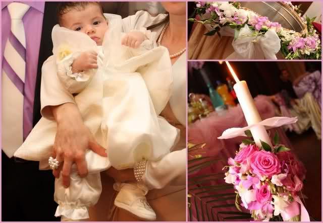 Flower Decor : Botez Andreea Ioana - lumanare botez si aranjament cristelnita