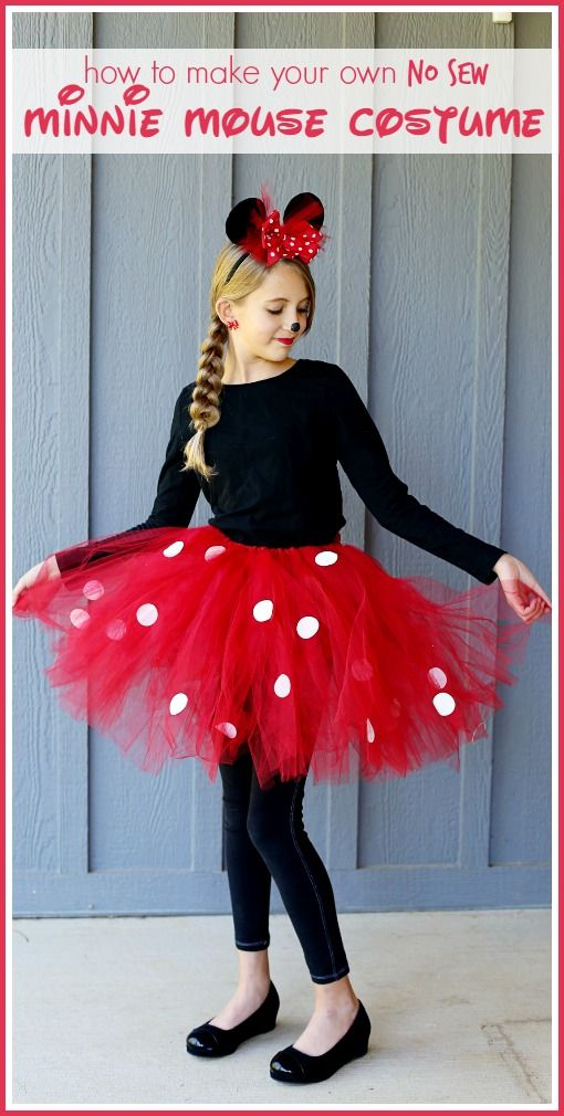 Love this easy no-sew Minnie Mouse costume! Such a cute DIY Halloween costume for girls!