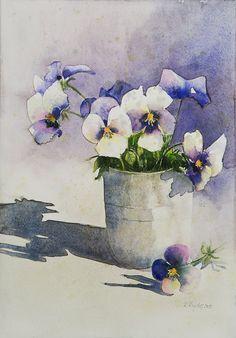 Watercolor pansies in tin